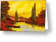 Al Tramonto Sul Torrente Greeting Card by Guido Borelli