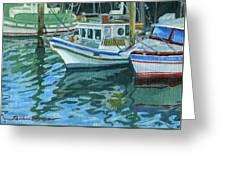 Alaskan Boats In Rippling Water Greeting Card by Shalece Elynne