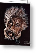 Albert Einstein Portrait Greeting Card by Daliana Pacuraru