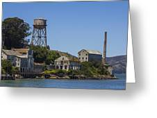 Alcatraz Dock And Water Tower Greeting Card by John McGraw
