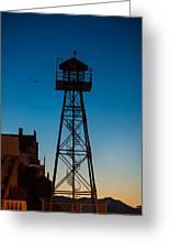 Alcatraz Guard Tower Greeting Card by Steve Gadomski