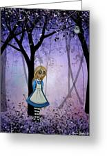 Alice In An Enchanted Forest Greeting Card by Charlene Murray Zatloukal