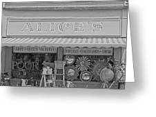 Alice's Antiques In Black And White Greeting Card by Nomad Art And  Design