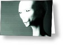 Alien Grey Pattern Greeting Card by Pixel  Chimp