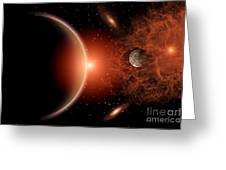 Alien Sunrise On A Distant Alien World Greeting Card by Mark Stevenson