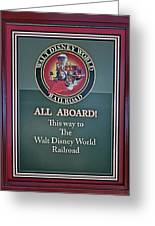 All Aboard Sign Greeting Card by Thomas Woolworth