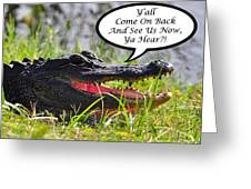 Alligator Yall Come Back Card Greeting Card by Al Powell Photography USA