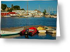 Alls Quiet In The Harbor Greeting Card by Karol  Livote