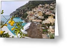 Amalfi Coast Town Greeting Card by George Oze