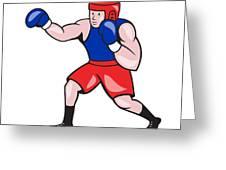 Amateur Boxer Boxing Cartoon Greeting Card by Aloysius Patrimonio