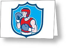 Amateur Boxer Stance Shield Cartoon Greeting Card by Aloysius Patrimonio