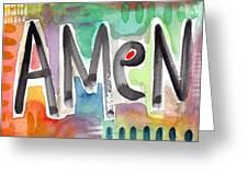 Amen Greeting Card Greeting Card by Linda Woods
