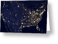 America At Night Greeting Card by Adam Romanowicz
