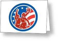 American Basketball Player Dunk Block Circle Retro Greeting Card by Aloysius Patrimonio