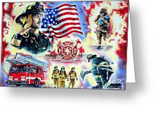 American Firefighters Greeting Card by Andrew Read