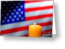 American Flag And Candle Greeting Card by Olivier Le Queinec