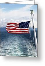 American Flag Blowing In The Wind At Sea Greeting Card by Jessica Foster