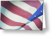 American Flag Grungy Vintage Oil Painting Greeting Card by Christina Rahm