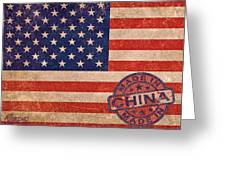American Flag Made In China Greeting Card by Tony Rubino