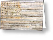 American Flag On Distressed Wood Beams White Yellow Gray And Brown Flag Greeting Card by Design Turnpike