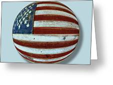 American Flag Wood Orb Greeting Card by Tony Rubino