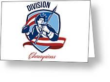 American Football Division Champions Shield Retro Greeting Card by Aloysius Patrimonio