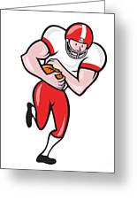 American Football Running Back Ball Cartoon Greeting Card by Aloysius Patrimonio