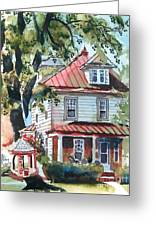 American Home With Children's Gazebo Greeting Card by Kip DeVore