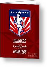 American Marathon Runner Good Legs Poster Greeting Card by Aloysius Patrimonio