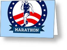 American Marathon Runner Power Poster Greeting Card by Aloysius Patrimonio