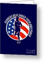 American Marathon Runner Running Power Retro Greeting Card by Aloysius Patrimonio