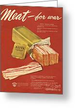 American Meat Institute 1950s Usa Bacon Greeting Card by The Advertising Archives