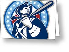 American Patriot Baseball Bat Retro Greeting Card by Aloysius Patrimonio