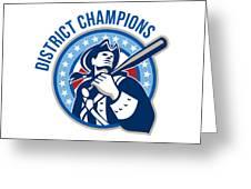 American Patriot Baseball District Champions Greeting Card by Aloysius Patrimonio