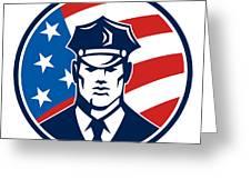 American Policeman Security Guard Retro Greeting Card by Aloysius Patrimonio