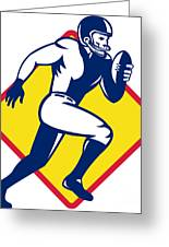 American Quarterback Football Player Running Greeting Card by Aloysius Patrimonio