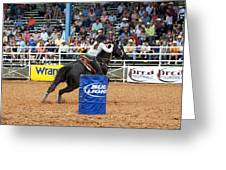 American Rodeo Female Barrel Racer Dark Horse Iv Greeting Card by Sally Rockefeller