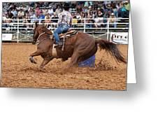 American Rodeo Female Barrel Racer White Blaze Chestnut Horse IIi Greeting Card by Sally Rockefeller
