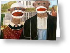 American Sock Monkeys Greeting Card by Randy Burns