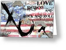 Americana Love Peace And Rock And Roll Greeting Card by Anahi DeCanio