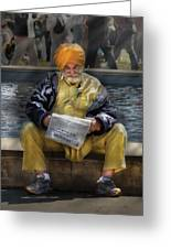 Americana - People - Casually Reading A Newspaper Greeting Card by Mike Savad