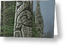 Amid The Mist - Totems Greeting Card by Elaine Booth-Kallweit