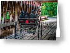 Amish Family On Covered Bridge Greeting Card by Gene Sherrill