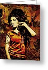 Amy Winehouse 24x36 Mm Reg Greeting Card by Dancin Artworks