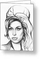 Amy Winehouse Greeting Card by Olga Shvartsur