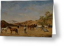 An Arabian Camp Greeting Card by Eugene Fromentin