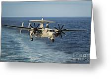 An E-2c Hawkeye Prepares To Land Greeting Card by Stocktrek Images