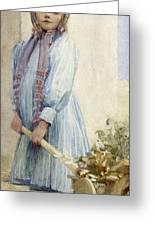An Italian Peasant Girl Greeting Card by Ada M Shrimpton