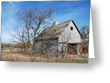 An Old Rundown Abandoned Wooden Barn Under A Blue Sky In Midwestern Illinois Usa Greeting Card by Paul Velgos