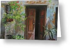 An Open Door Milan Italy Greeting Card by Anna Rose Bain